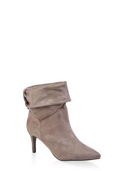 Tabbed Fold Over Pointed Toe Booties - GRAY - 1113004065665