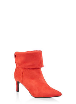 Tabbed Fold Over Pointed Toe Booties - RED - 1113004065665
