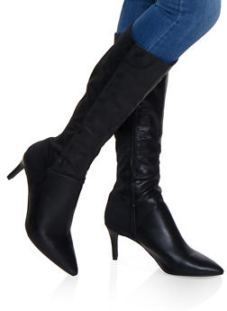 Pointed Toe Knee High Boots - 1113004065666