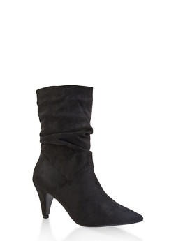 Ruched High Heel Booties - BLACK SUEDE - 1113004067339