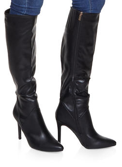 Tall Pointed Toe High Heel Boots - BLACK - 1113004067541