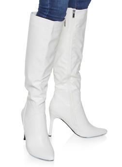 Tall Pointed Toe High Heel Boots - WHITE - 1113004067541