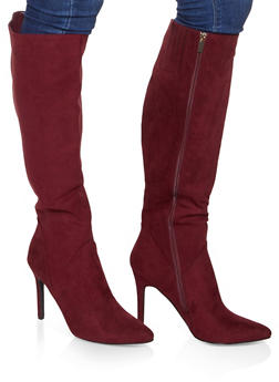 Tall Pointed Toe High Heel Boots - WINE - 1113004067541