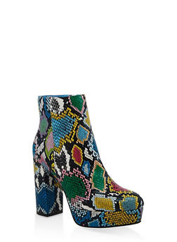 Block Heel Platform Booties - MULTI SKIN - 1113004067687