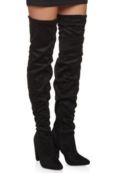 Block Heel Over the Knee Boots - BLACK SUEDE - 1113004067765