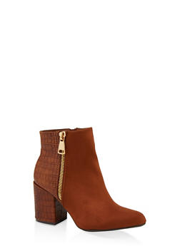 Zip Side Block Heel Booties - BROWN - 1113004068489