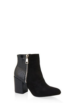 Zip Side Block Heel Booties - BLACK SUEDE - 1113004068489