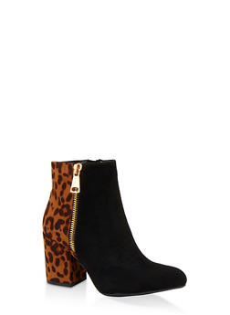 Zip Side Block Heel Booties - LEOPARD PRINT - 1113004068489