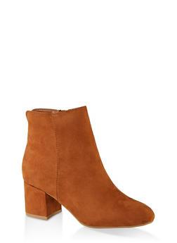 Round Toe Mid Heel Booties - CAMEL - 1113014062263