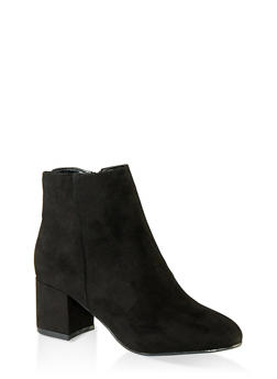 Round Toe Mid Heel Booties - BLACK SUEDE - 1113014062263