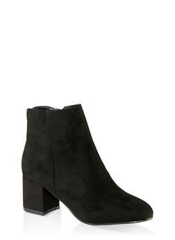 Round Toe Mid Heel Booties - 1113014062263