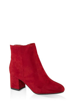 Round Toe Mid Heel Booties - BURGUNDY - 1113014062263