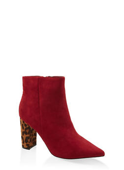 Side Zip Pointed Toe Booties - 1113014062356