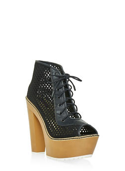 Perforated Peep Toe Platform Booties - BLACK - 1113014062667