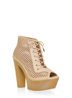 Perforated Peep Toe Platform Booties - BLUSH - 1113014062667