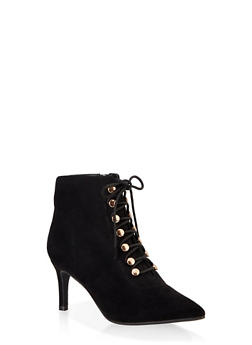 Lace Up Pointed Toe Booties - BLACK SUEDE - 1113014065672