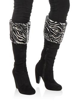 Faux Fur Cuffed High Heel Boots - ZEBRA PRINT FFS - 1113014066608