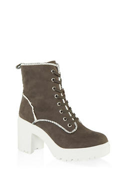 Chunky Lace Up Boots - GRAY - 1113014067342