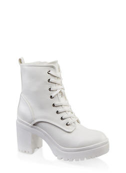Chunky Lace Up Boots - WHITE - 1113014067342