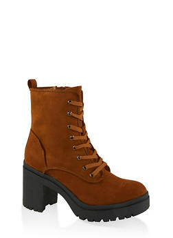 Chunky Lace Up Boots - BROWN - 1113014067342