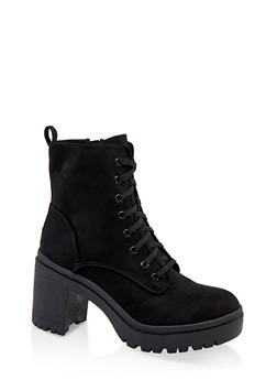 Chunky Lace Up Boots - BLACK SUEDE - 1113014067342