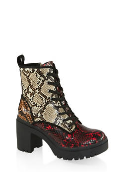 Chunky Lace Up Boots - MULTI SKIN - 1113014067342