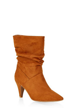 Ruched Pointed Toe Booties - 1113014067378