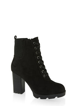 Chunky Heel Booties - BLACK SUEDE - 1113014067452