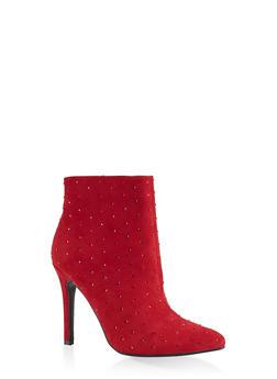 Rhinestone Studded Booties - 1113014067542