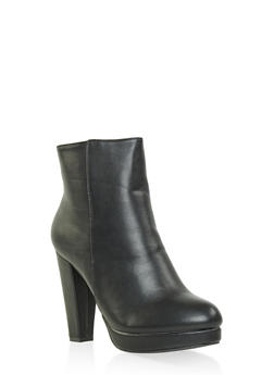Side Zip High Heel Platform Booties - BLACK - 1113014067950