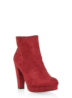 Side Zip High Heel Platform Booties - WINE - 1113014067950