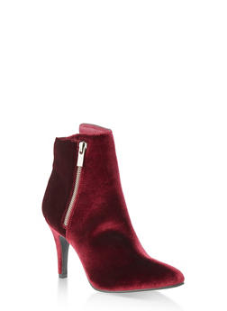 Pointy Side Zip High Heel Booties - 1113027615316