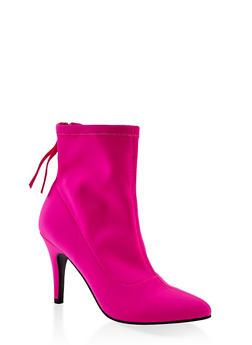 Neoprene Pointed Toe Booties - NEON PINK - 1113027616216