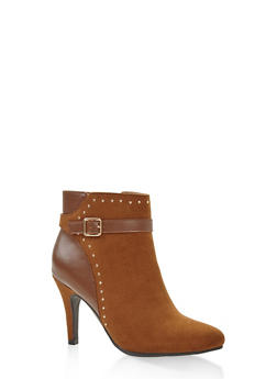 Buckle Strap Studded Booties - CAMEL - 1113027616716