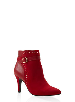 Buckle Strap Studded Booties - RED - 1113027616716