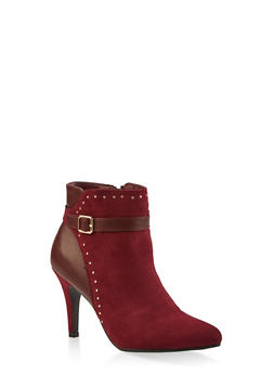 Buckle Strap Studded Booties - WINE - 1113027616716