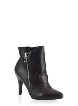 Pointed Toe Zip Booties - BLACK - 1113027616717
