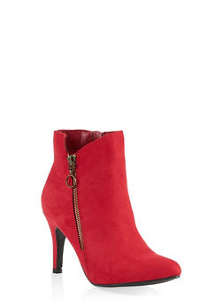 Pointed Toe Zip Booties - RED S - 1113027616717
