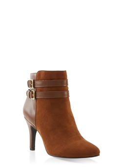 Two Buckle Pointed Toe Booties - 1113027616718