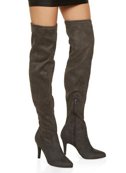 Over the Knee Mid Heel Boots - 1113027616771