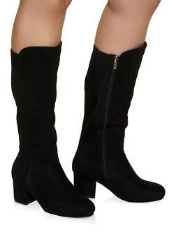 Mid Heel Wide Calf Boots - BLACK - 1113029002474
