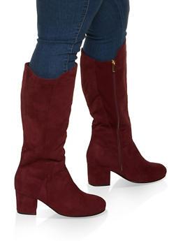 Mid Heel Wide Calf Boots - 1113029002474