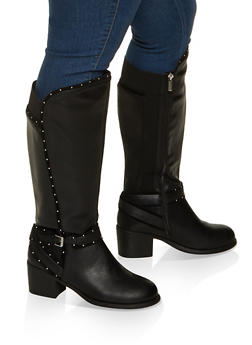 Studded Tall Wide Calf Boots - 1113029009837