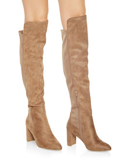 Block Heel Stretch Boots - STONE - 1113053872525