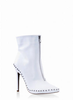 Studded Zip Front Booties - WHITE - 1113053874473