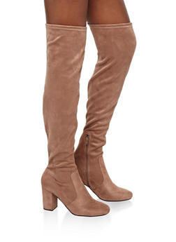 Faux Suede Over the Knee Boots - 1113056635490