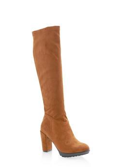 Knee High Mid Heel Boots,BROWN,large