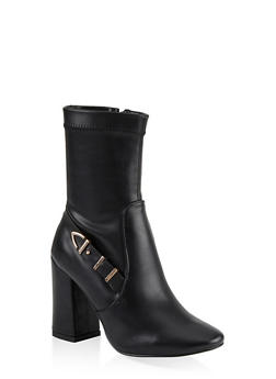 Buckle Detail Block Heel Booties - 1113067242269