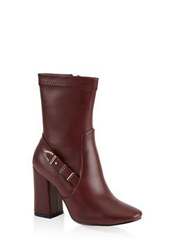 Buckle Detail Block Heel Booties - 1113067242269