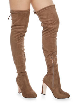 Faux Suede Over the Knee Boots with Metallic Block Heel - TAUPE - 1113073112427